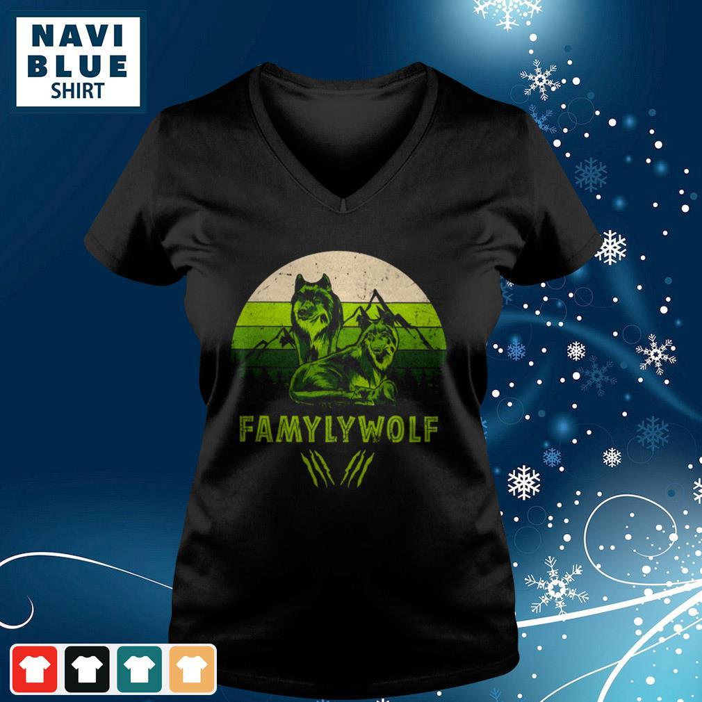 Mountain Famyly Wolf Vintage v-neck-t-shirt